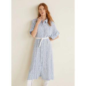 NWT MANGO Striped Print Midi Dress Size 2